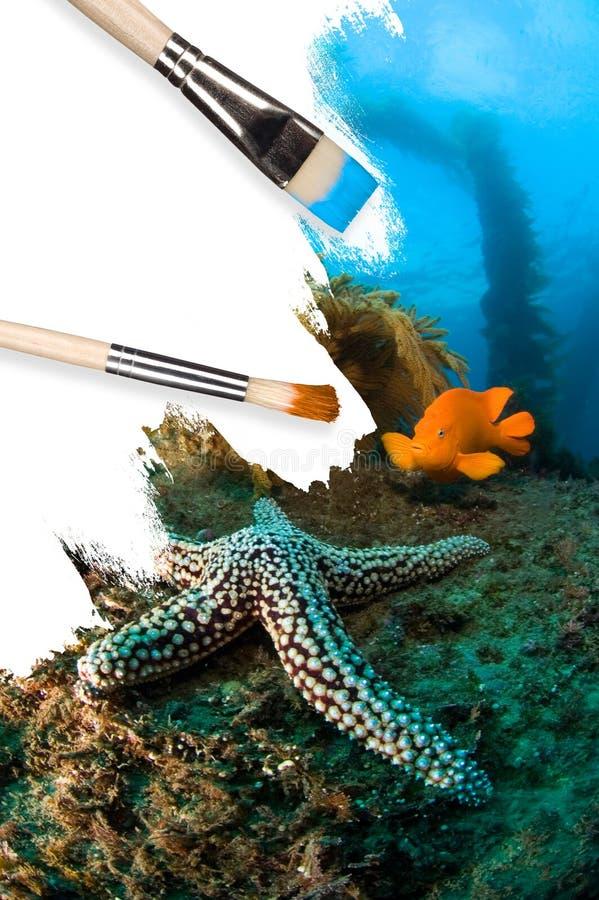 Onderwater conceptueel landschap stock afbeeldingen