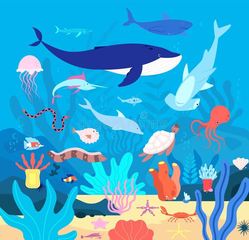 Onderwater Cute undersea animals, cartoon sea wildlife Fijne aquariumhabitat, oceanische vissen en zoogdieren Marien leven royalty-vrije illustratie