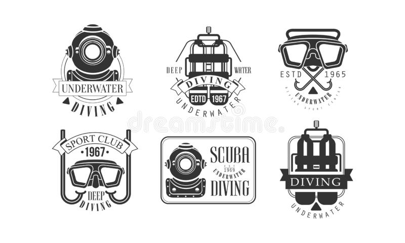Onderwater duikend Retro Logo Sjablonen Set, Deep Water Sport Club Monochrome Badges Vector Illustratie stock illustratie