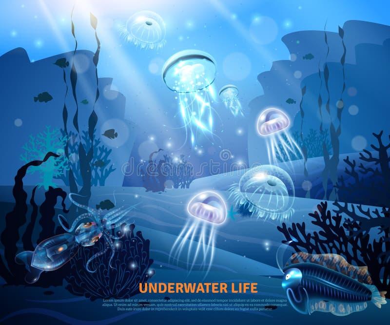 Onderwater het Levens Lichte Affiche Als achtergrond vector illustratie