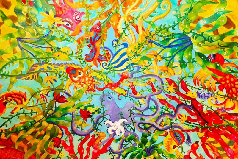 Onderwater het levensbeeldverhaal of hand geschilderde achtergrond royalty-vrije stock foto's