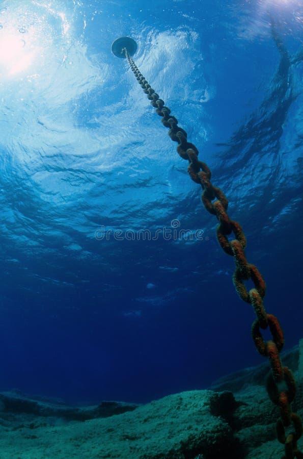 Onderwater ketting stock afbeeldingen