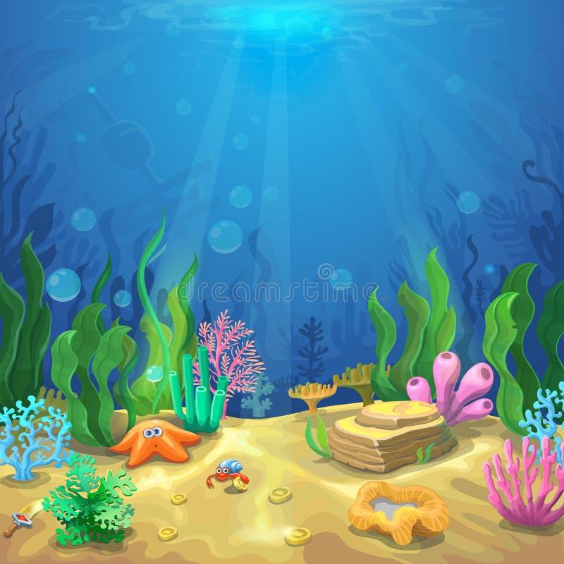 Onderwater landschap De onderzeese wereld met verschillende inwoners, koralen en zeester, mariene het levensvector vector illustratie