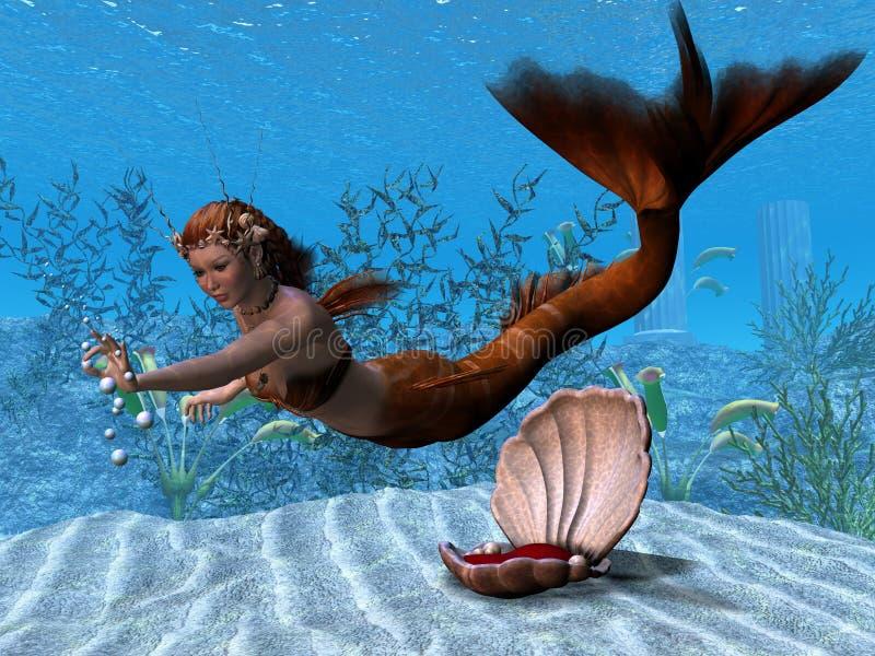 Onderwater Meermin royalty-vrije illustratie
