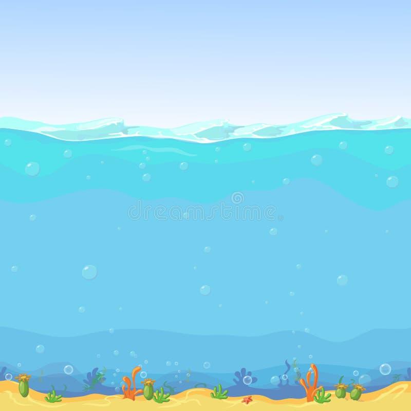 Onderwater naadloos landschap, beeldverhaalachtergrond voor spelontwerp royalty-vrije illustratie
