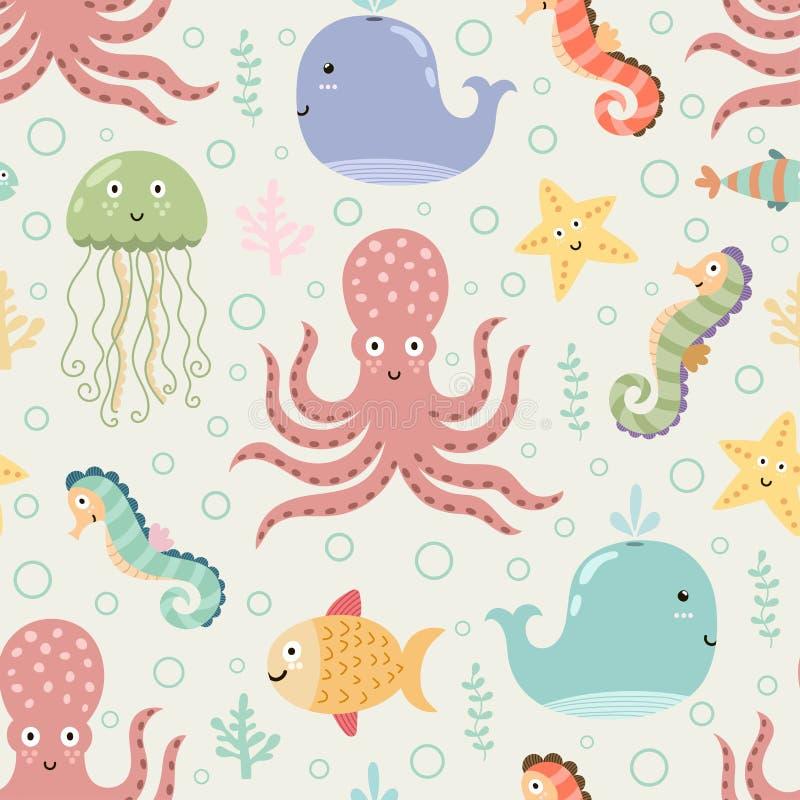 Onderwater naadloos patroon op lichte achtergrond vector illustratie
