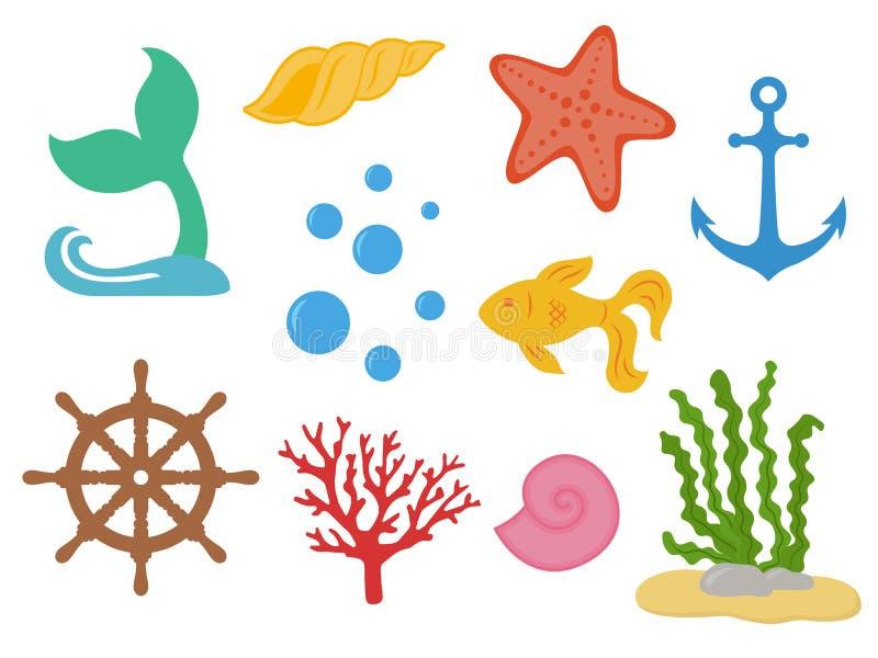 onderwater Onder het overzees - meerminstaart, zeester, zeeschelpen, gouden vissen, koraal, zeewier, handwiel, anker, bellen Het  stock illustratie