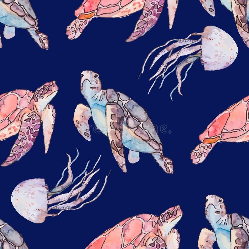 Onderwater overzees patroon Zeeschildpadden en kwallen Oceaanvector vector illustratie
