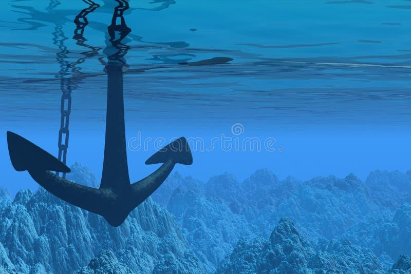 Onderwater scène met anker vector illustratie