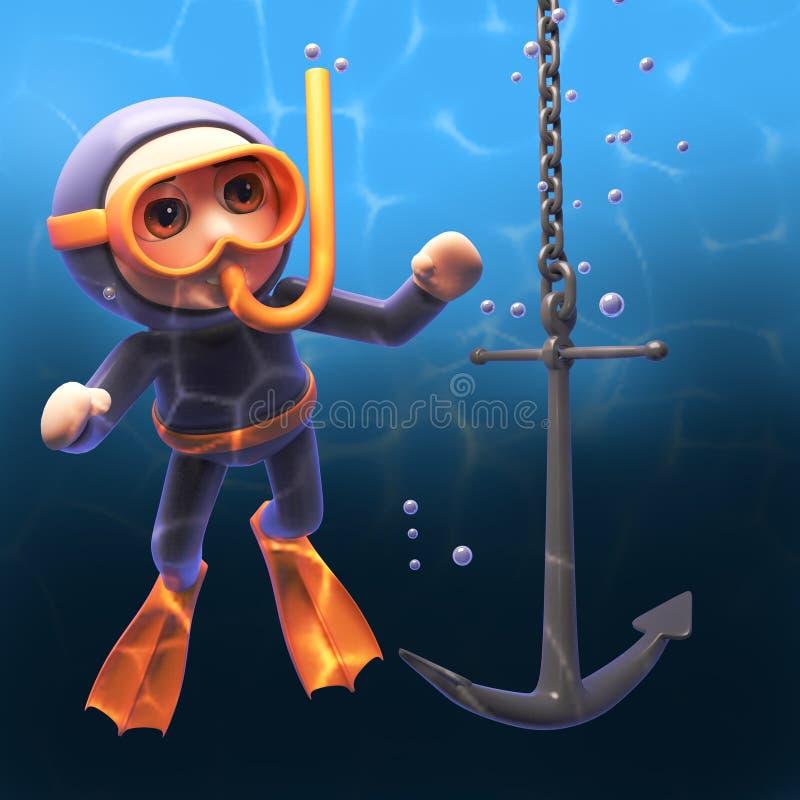 Onderwater snorkel scuba-duiker in 3d lettend op een schepenanker dalen door de diepten, 3d illustratie stock illustratie