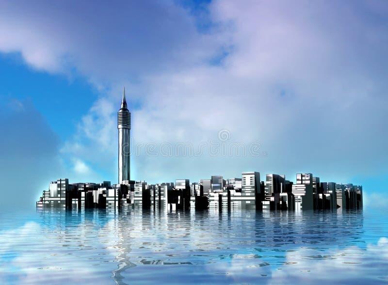 Onderwater Stad stock illustratie