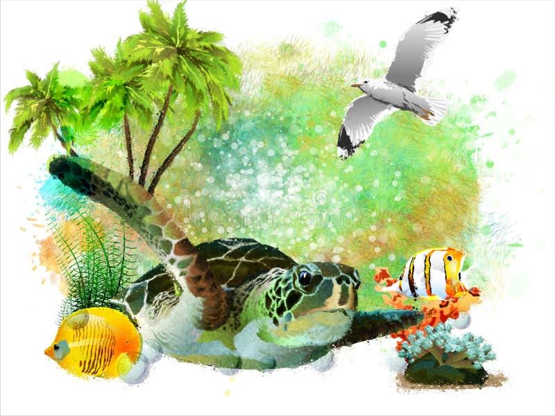 Onderwater tropische wereld op een abstracte waterverfachtergrond stock illustratie