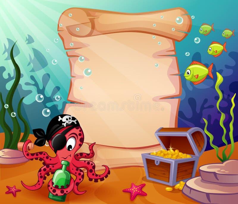 Onderwaterachtergrond met piraatoctopus en schatten stock illustratie