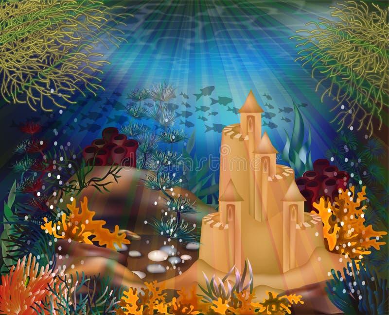 Onderwaterachtergrond met zandkasteel, vector royalty-vrije illustratie