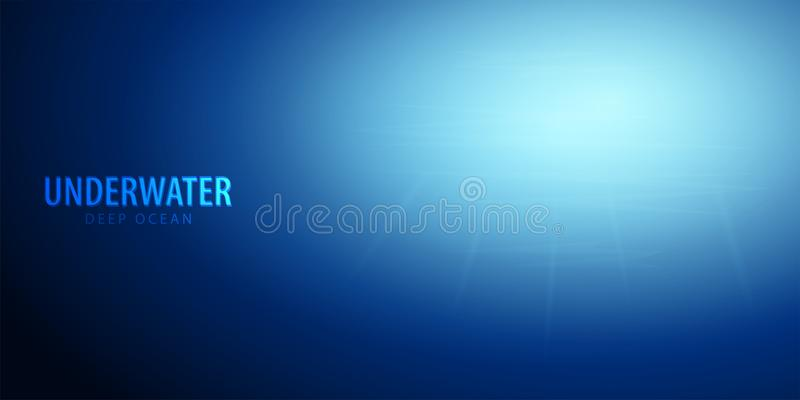 Onderwaterachtergrond met zonstralen Diepe Oceaan De vectorillustratie van de kleur vector illustratie