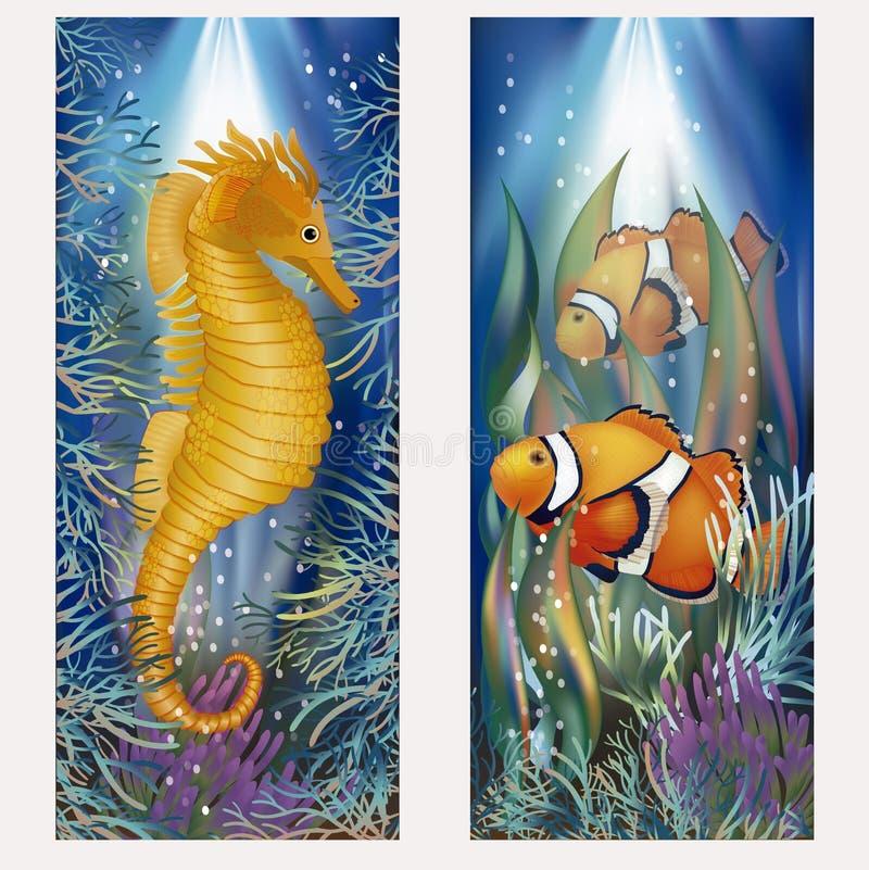 Onderwaterbanners met seahorse en vissen vector illustratie
