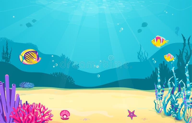 Onderwaterbeeldverhaalachtergrond met vissen, zand, zeewier, parel, kwallen, koraal, zeester Het oceaan overzeese leven, leuk ont vector illustratie