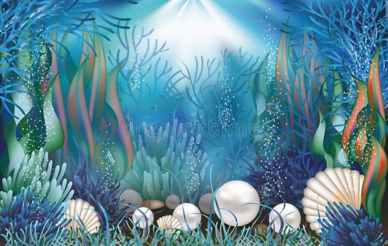 Onderwaterbehang met parels stock illustratie