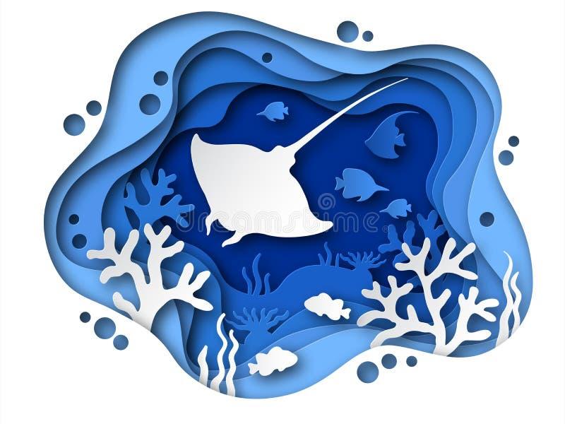 Onderwaterdocument besnoeiing Oceaanbodem met overzeese dieren, koralen en vissensilhouetten Het tropische zeebeddingsdocument br stock illustratie