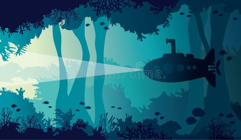 Onderwaterhol, overzees, onderzeeër, koraalrif, vissen stock illustratie