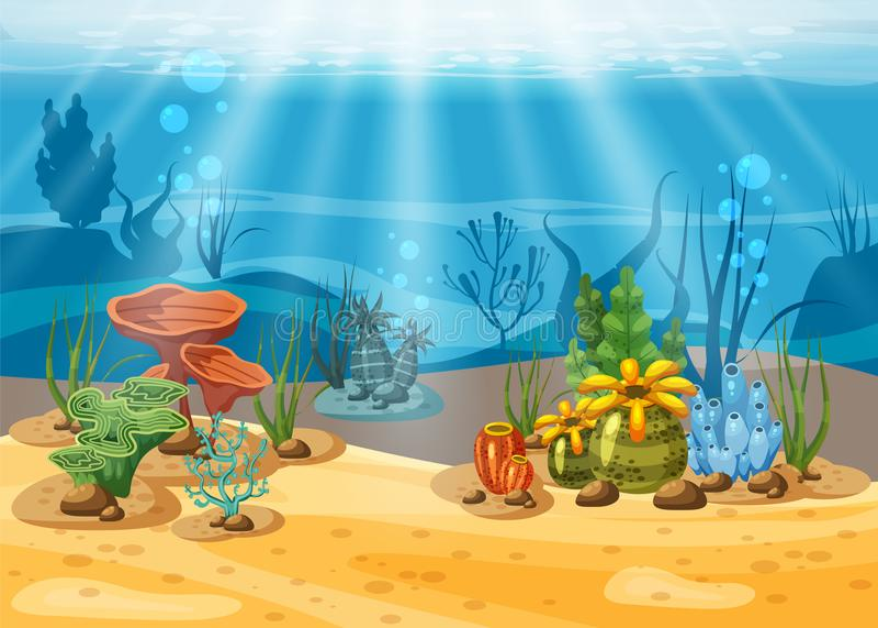 Onderwaterillustratie en het leven de schoonheid van het mariene leven De algen en de koraalriffen zijn mooi en kleurrijk, vector royalty-vrije illustratie