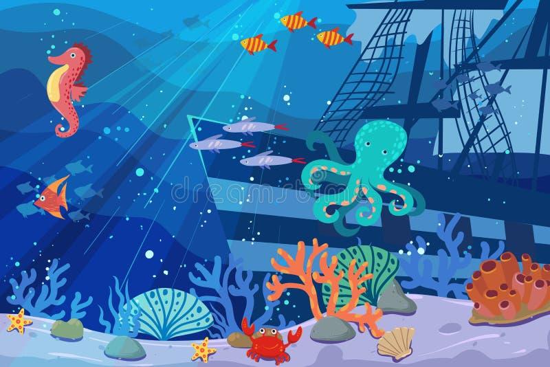 Onderwaterillustratie en het leven de schoonheid van het mariene leven vissen, algen en koraalriffen, schip, mooie octopus, en royalty-vrije illustratie