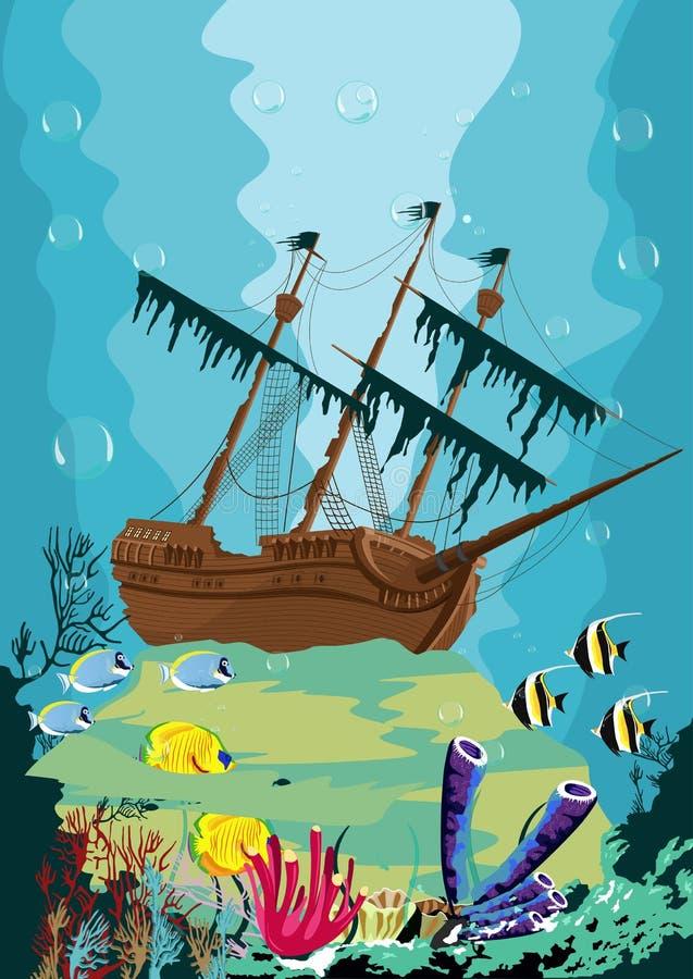 Onderwaterlandschap met oud piraatschip stock illustratie