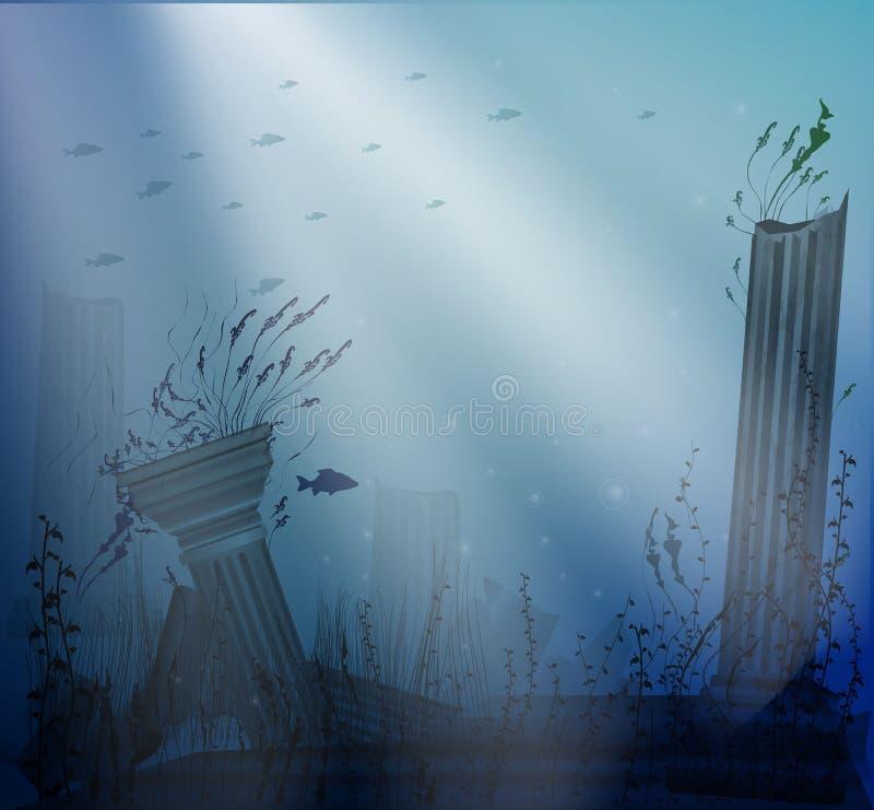 Onderwaterlandschap met oude ruïnes van kolommen met lichtstralen, geheim van Atlantis, vector illustratie