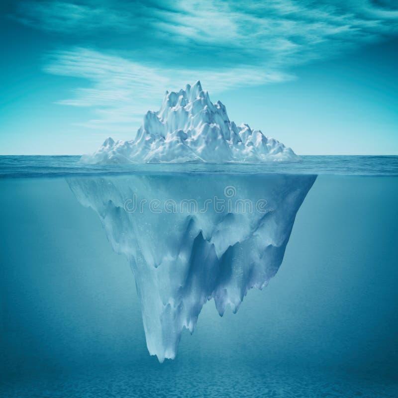 Onderwatermening van ijsberg stock illustratie
