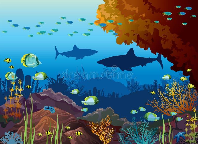 Onderwateroverzees - haaien, koraalrif, vissen royalty-vrije illustratie