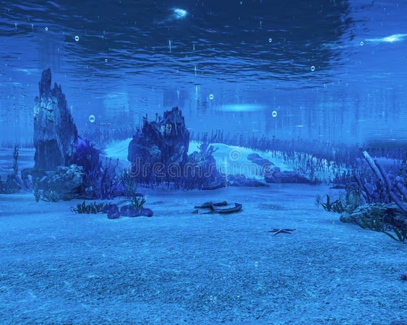 Onderwateroverzees, Oceaan, Water, Achtergrond royalty-vrije stock afbeeldingen