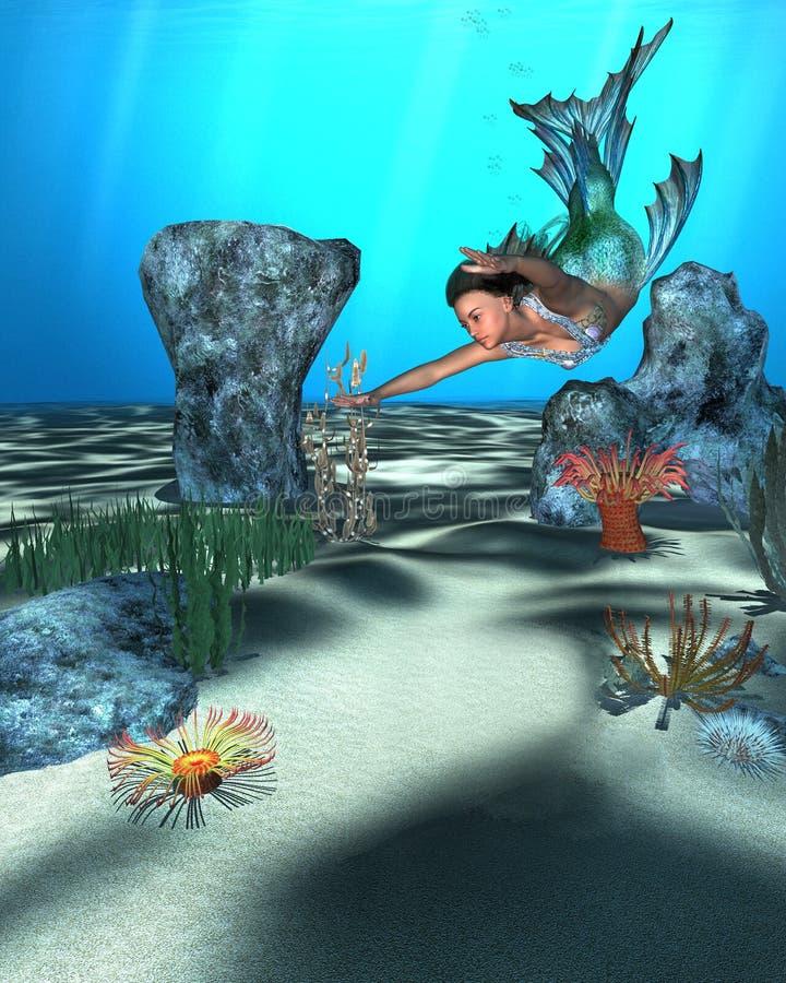 Onderwaterscène met een mooie meermin royalty-vrije illustratie