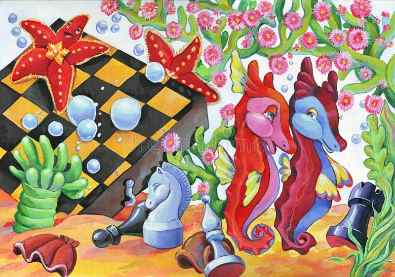 Onderwaterscène met zeepaardjes en zeesterren dichtbij gedaalde schaakraad royalty-vrije illustratie