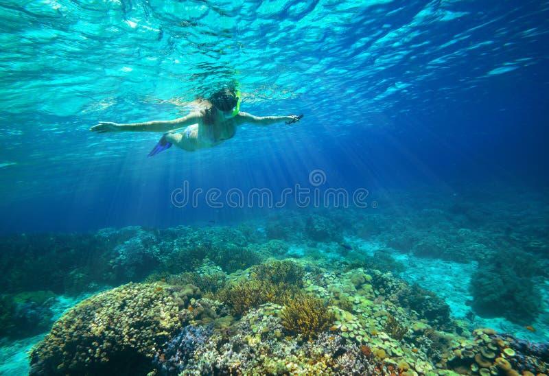 Onderwaterschot van een vrouw die in de zon snorkelen royalty-vrije stock afbeeldingen