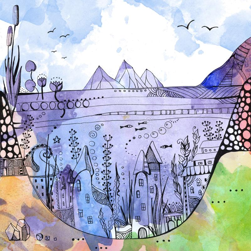 Onderwaterstad Huizen onder zeewier op bodem van het meer De tekening van de fantasiewaterverf royalty-vrije illustratie