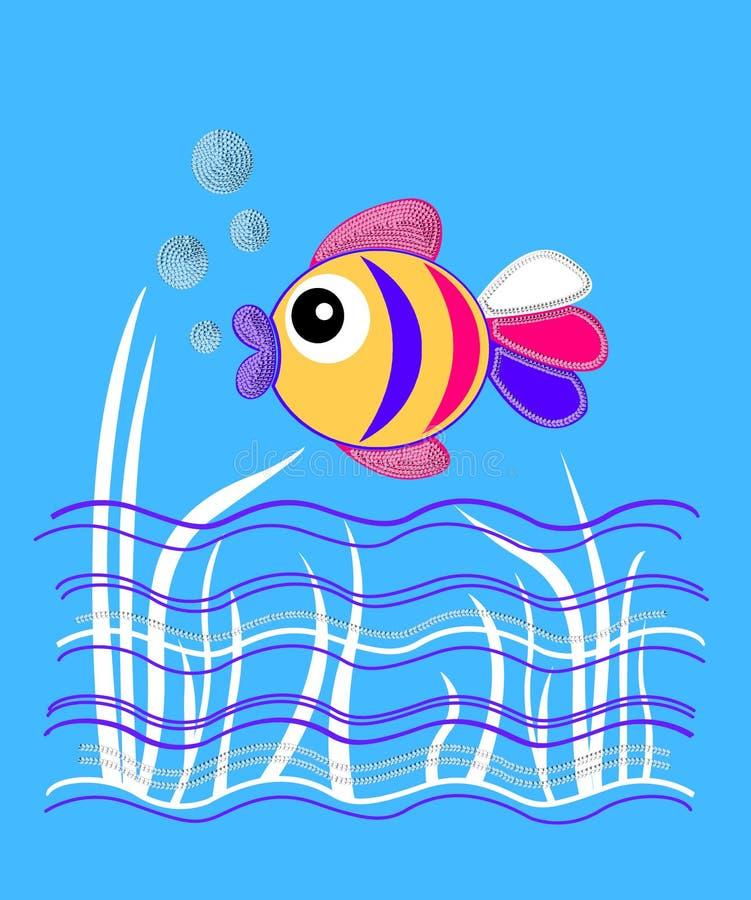 onderwatervissen, grafiek voor kinderenproducten stock illustratie