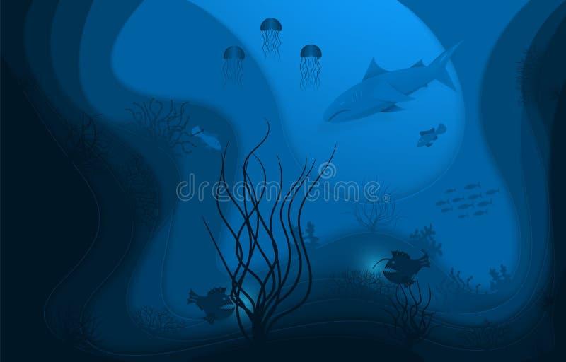Onderwaterwereld, document stijl Kraftpapier, het onderwater oceaanleven Diepzeevissen en algen vector illustratie