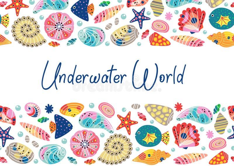 Onderwaterwereld horizontale banner vector illustratie