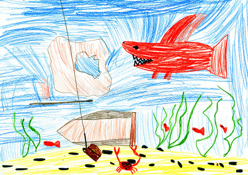 Onderwaterwereld. kindtekening. stock afbeelding