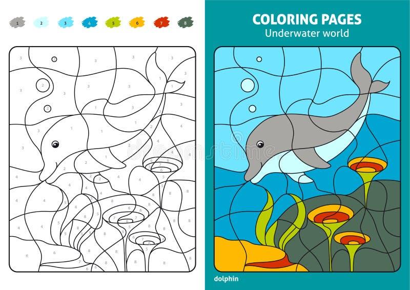 Onderwaterwereld kleurende pagina voor jonge geitjes, dolfijn stock illustratie