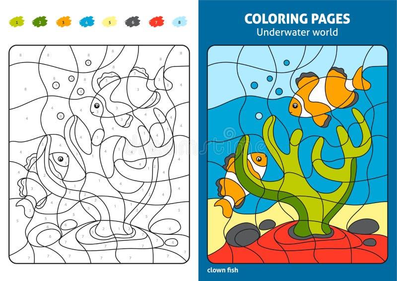 Onderwaterwereld kleurende pagina voor jonge geitjes, ertsadervissen vector illustratie
