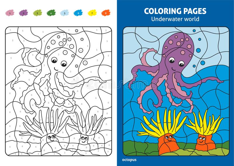 Onderwaterwereld kleurende pagina voor jonge geitjes, octopus stock illustratie