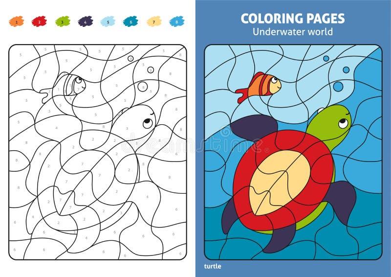 Onderwaterwereld kleurende pagina voor jonge geitjes, schildpad en vissen stock illustratie