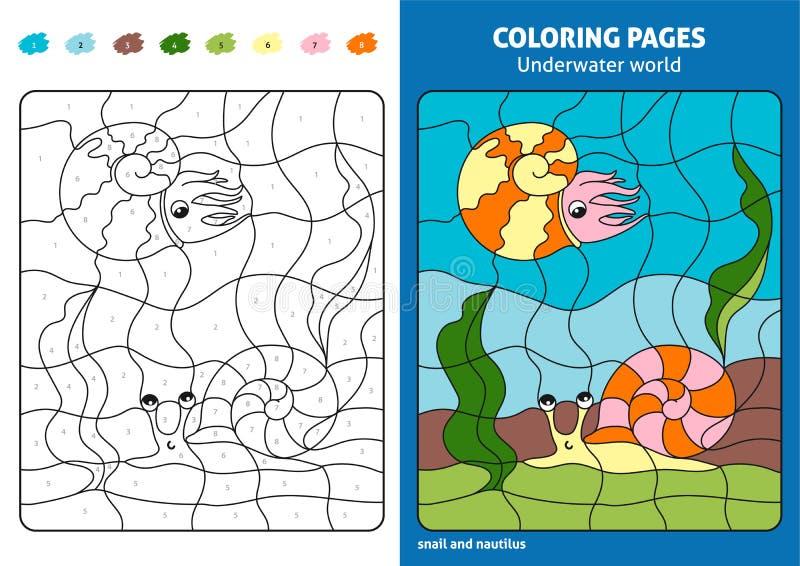 Onderwaterwereld kleurende pagina voor jonge geitjes, slak en nautilus royalty-vrije illustratie