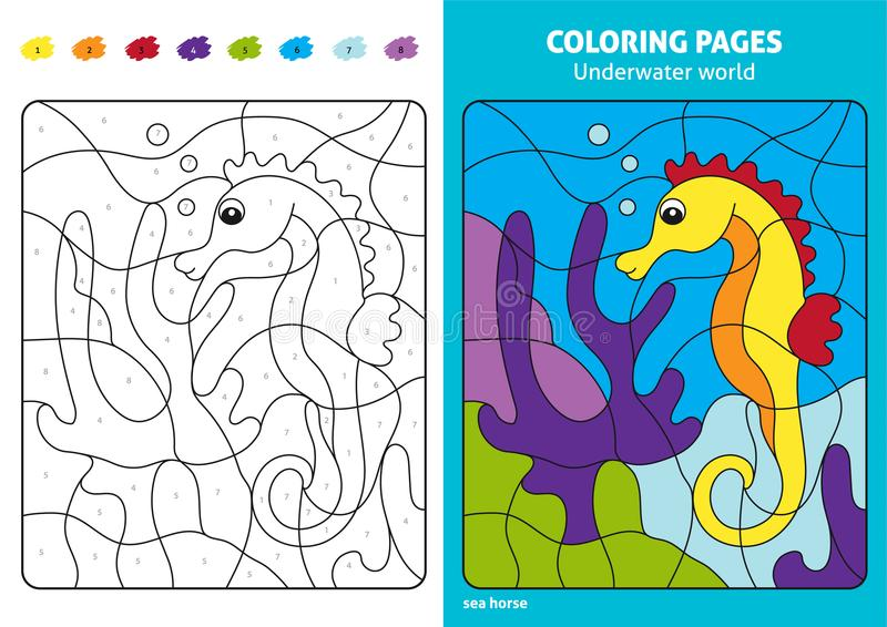 Onderwaterwereld kleurende pagina voor jonge geitjes, zeepaardje royalty-vrije illustratie