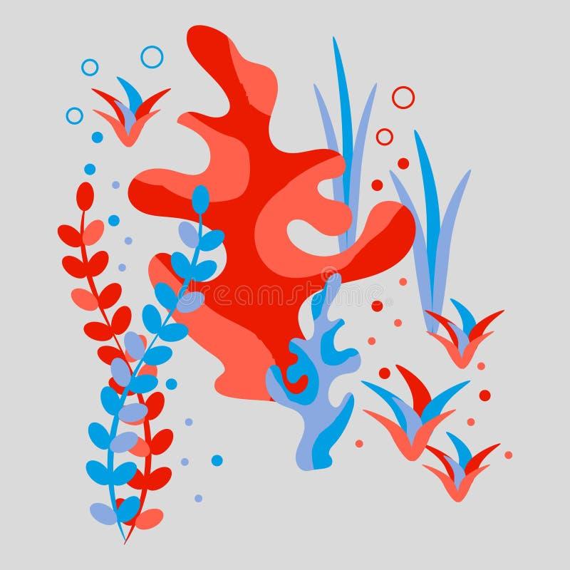 Onderwaterwereld, koralen, algen en bellen Vlakke stijl, getrokken hand, Skandinavische stijl, modieus kleurenpalet vector illustratie