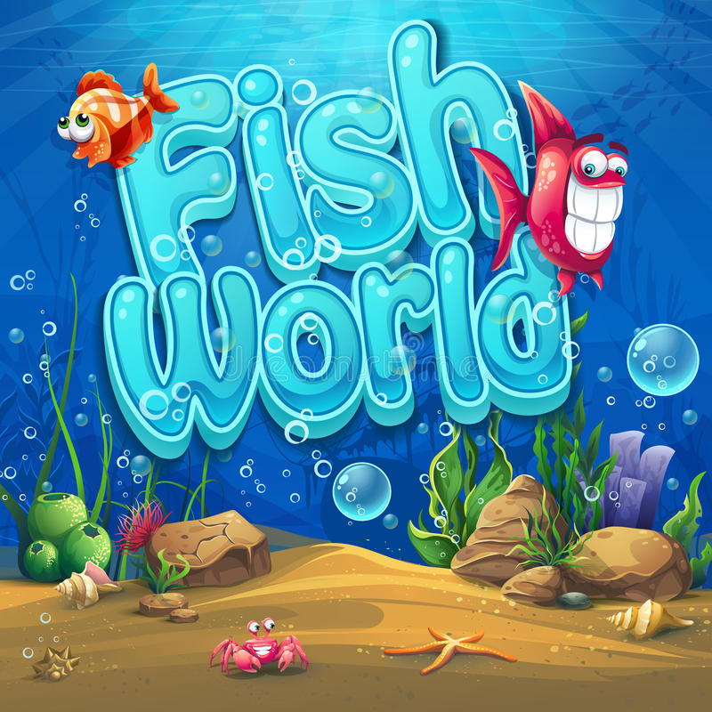 Onderwaterwereld met achtergrond van de vissen de Vectorillustratie stock illustratie