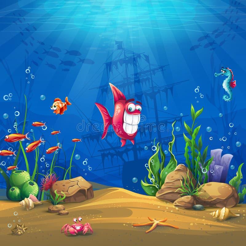 Onderwaterwereld met achtergrond van de vissen de Vectorillustratie royalty-vrije illustratie
