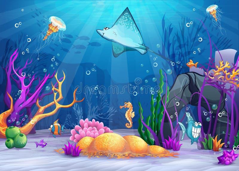 Onderwaterwereld met grappige vissen en een vissenhelling stock illustratie