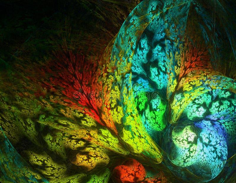 Onderwaterwereld met koralen Abstract fractal door de computer geproduceerd beeld stock afbeeldingen